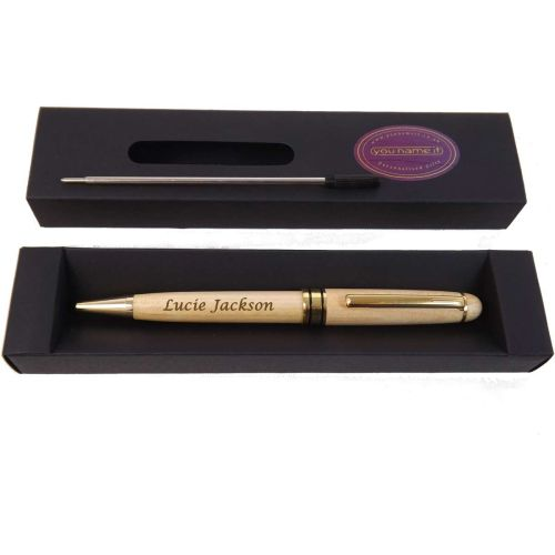 Personalised Wooden Ballpoint Pen in Maple. Perfect Birthday Gift