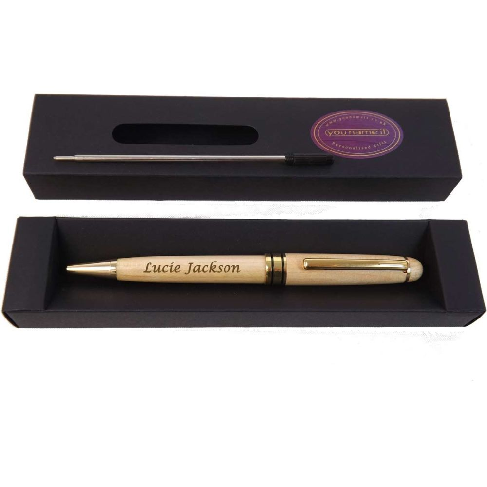 Personalised Wooden Ballpoint Pen in Maple. Perfect Teacher & Student Gift