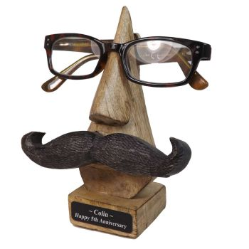 Personalised 5th Anniversary Wooden Specs Holder with Moustache.