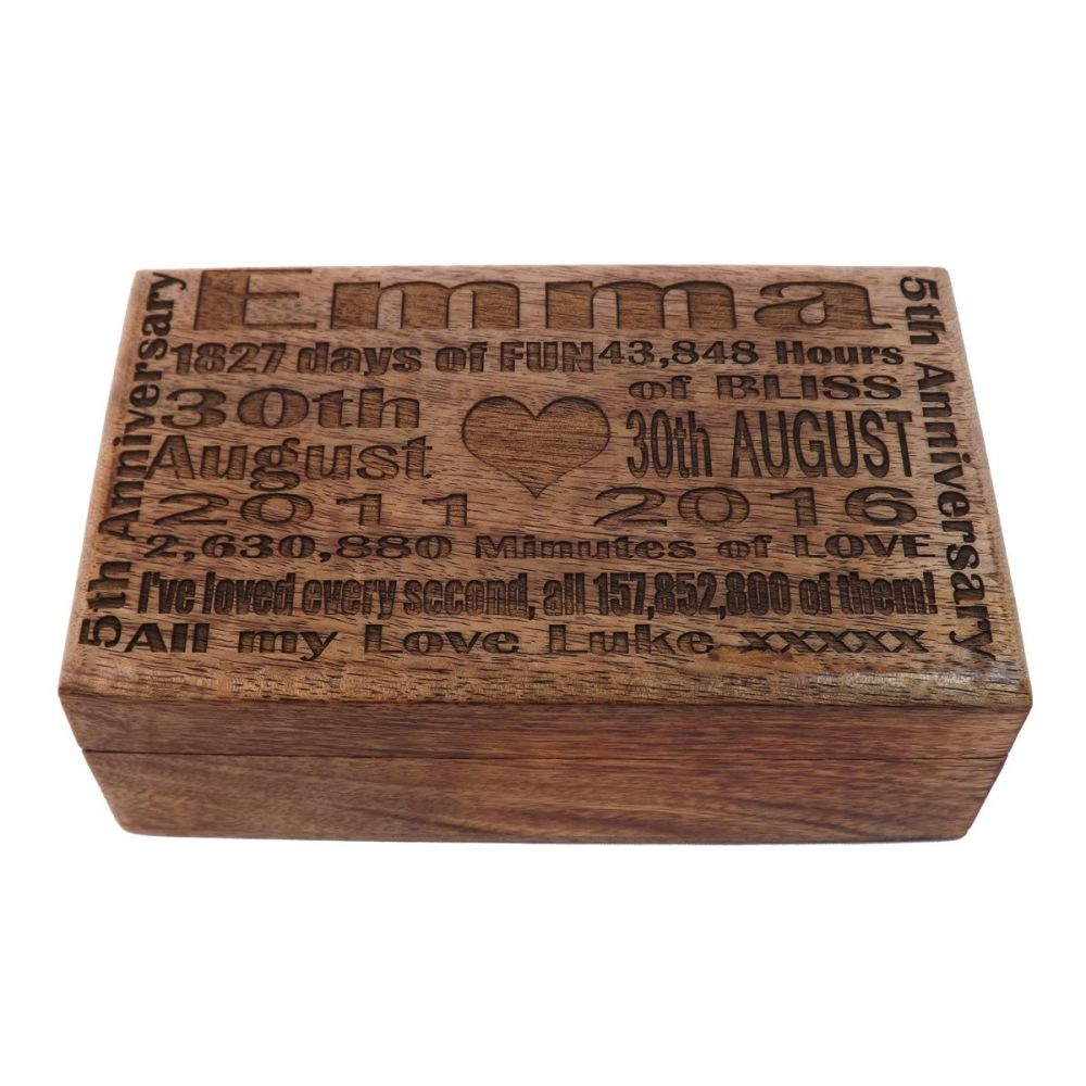 5th Wedding Anniversary Solid Wood Oblong Keepsake Box with unique lid engr