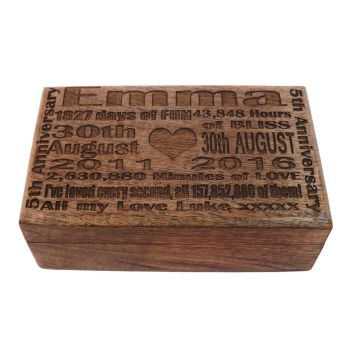 5th Wedding Anniversary Solid Wood Oblong Keepsake Box with unique lid engraving