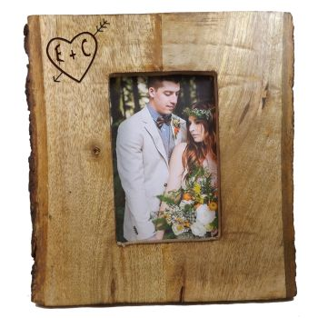 Rustic Hardwood Picture Frame complete with bark, personalised with initials
