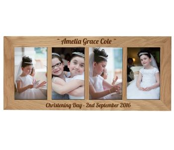 4 Picture Oak Photo Frame Personalised with your choice of text a great Christening gift