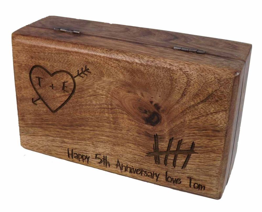 5th Anniversary Knotty Carved Heart Oblong Wooden Keepsake Box