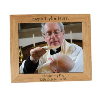 Personalised 10x8 Solid Oak Photo Frame - Perfect for a Christening Gift