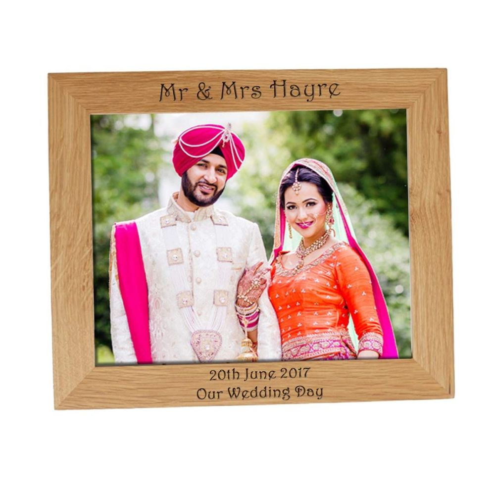 Personalised 10x8 Solid Oak Photo Frame - Perfect for those Wedding Photos