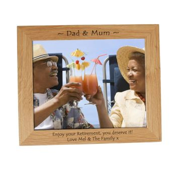 Personalised 10x8 Solid Oak Photo Frame - Perfect for a Retirement Gift