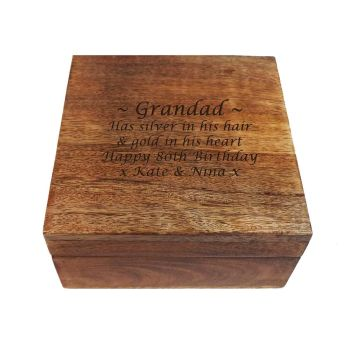 Personalised Wooden Square Keepsake Box, a great birthday gift for all ages.