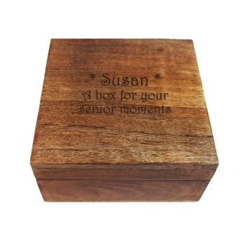 Personalised Wooden Square Keepsake Box, a great retirement gift.