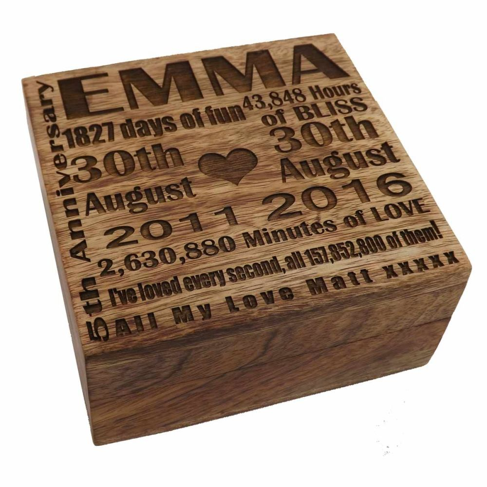 5th Wedding Anniversary Solid Wood Square Keepsake Box with unique lid engr