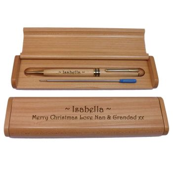 Personalised Wooden Maple Ballpoint Pen and Box For Christmas Gift