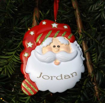 Santa with Stars - Personalised Christmas Tree Decoration