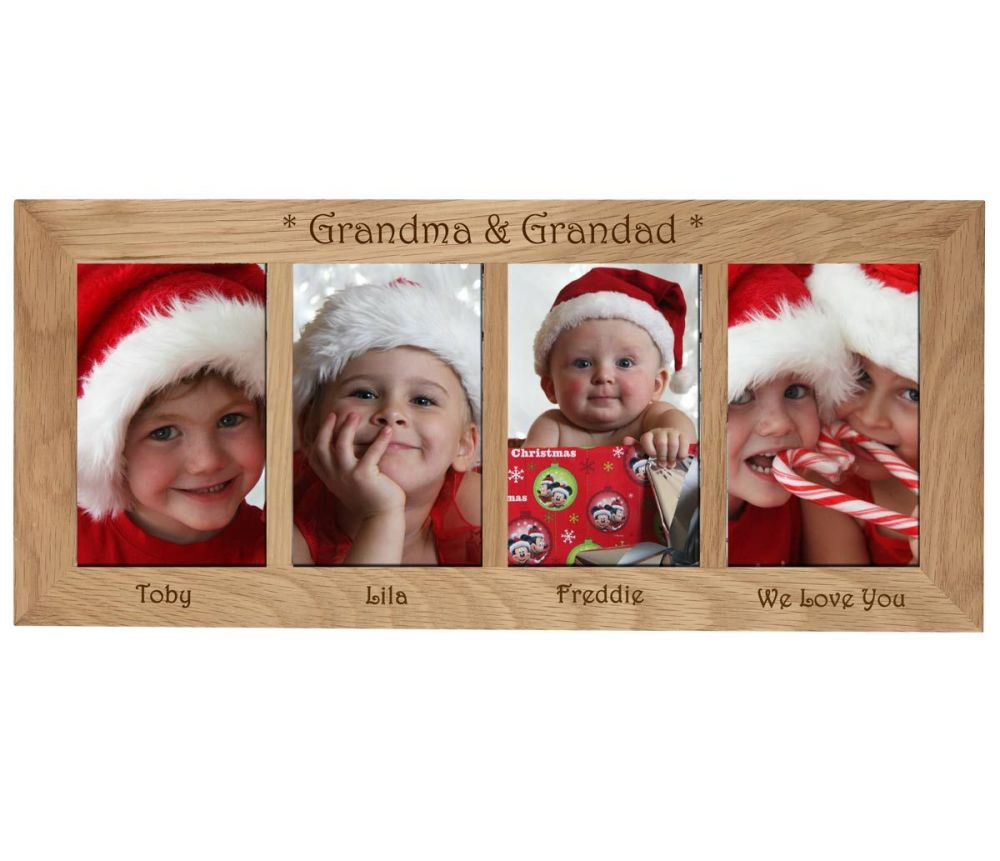 4 Picture Oak Photo Frame Personalised with your choice of text a great Chr