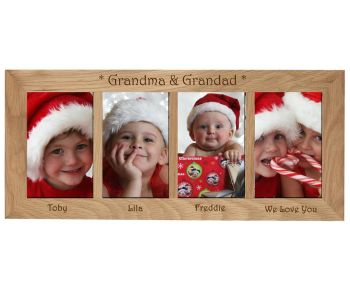 4 Picture Oak Photo Frame Personalised with your choice of text a great Christmas gift