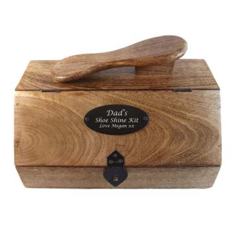 Wooden Shoe Shine Box Personalised for a Christmas Gift