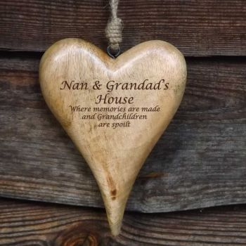 Personalised Large Hanging Heart in Natural Solid Wood - A Unique Christmas Gift