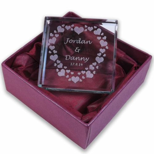 Personalised Glass Token with Hearts Ideal gift for Valentine's Day, Engage
