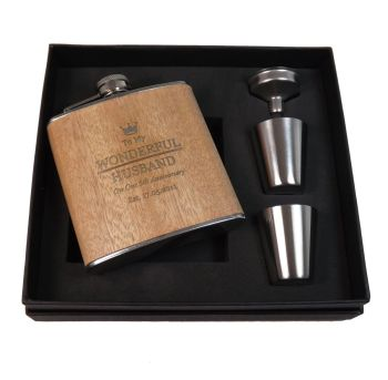 Personalised Wooden Wrap Hip Flask with shot cups, a great gift for your Husband, Wife, Boyfriend or Girlfriend