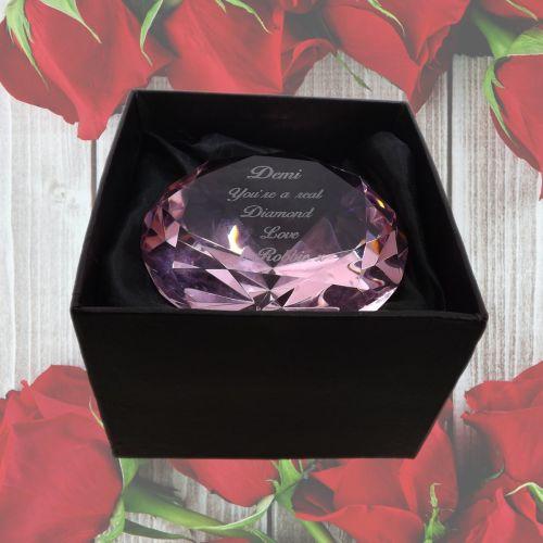 Personalised Pink Diamond Shape Glass Paperweight/Keepsake