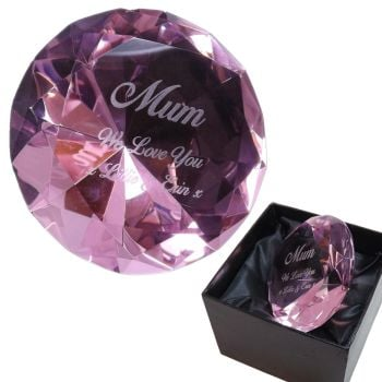 Mother's Day Personalised Pink Diamond Shape Glass Paperweight/Keepsake