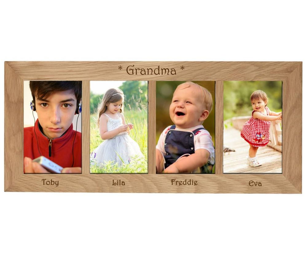 4 Picture Oak Photo Frame Personalised with your choice of text. Makes a be