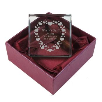 Birthday Personalised Glass Token with Hearts