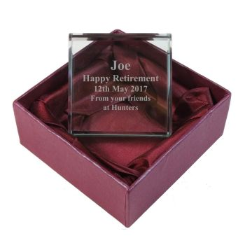 Personalised Glass Token. A perfect Retirement gift and keepsake