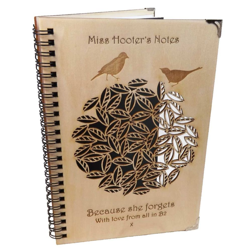 Personalised A5 Wooden Notebook/Journal with laser cut bird design. Perfect