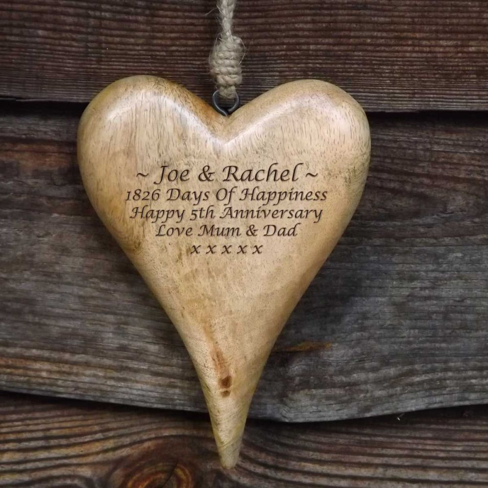 Personalised Large Hanging Heart in Natural Solid Wood  - A Unique 5th Anni
