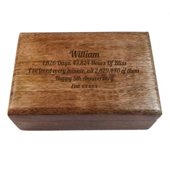 Wooden Keepsake Box, Great 5th Wedding Anniversary Gift personalised with your unique message.