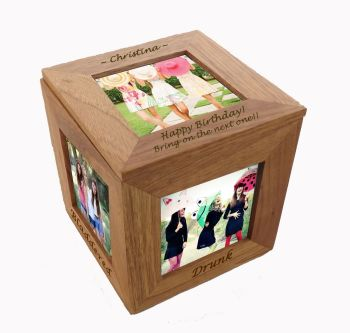 Oak Wood Photo Cube - Great for displaying pictures of those unforgettable birthdays.