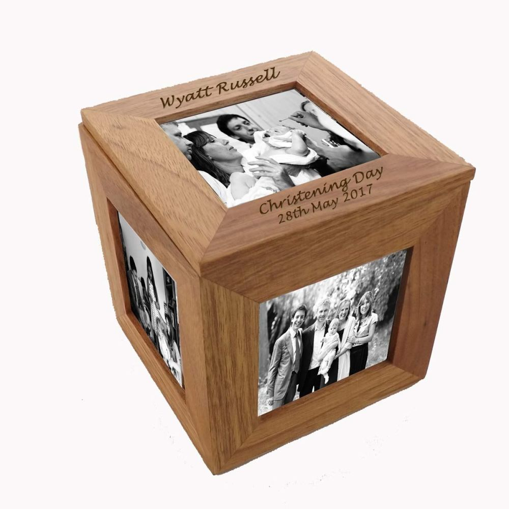 Oak Wood Photo Cube - Display 4 Gorgeous Christening Pictures in this Frame