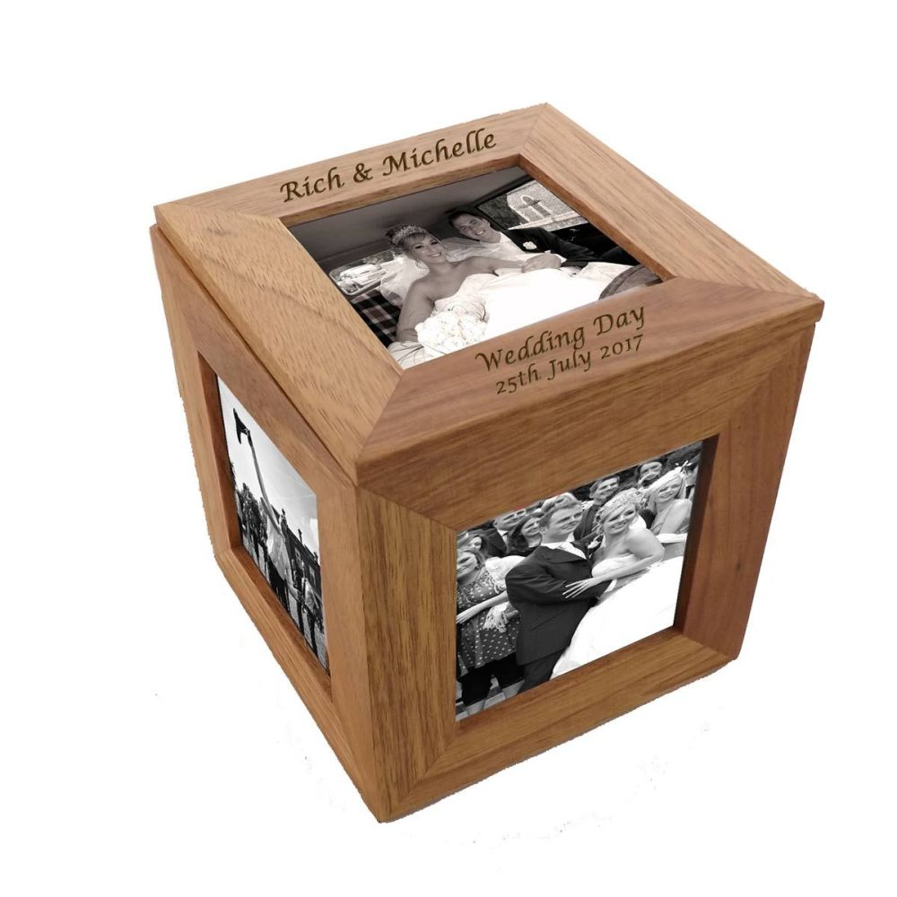 Oak Wood Photo Cube - A beauitful Wedding gift and keepsake
