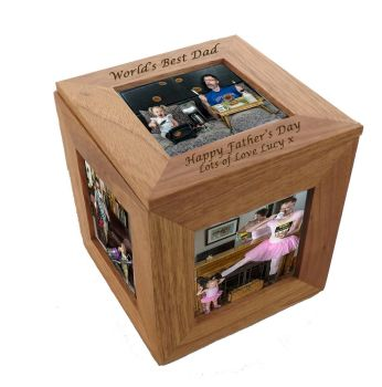 Oak Wood Photo Cube - A beautiful Father's Day gift and keepsake