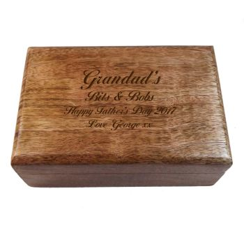 Large Wooden Oblong Keepsake Box, Great Father's Day Present
