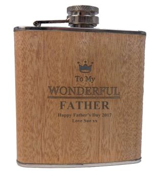 Personalised Wooden Wrap Hip Flask with shot cups, a great gift for your Dad