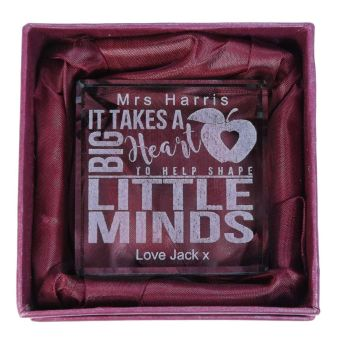 "Personalised Glass Token. ""It takes a big Heart to shape little Minds"" A perfect Teacher's gift and keepsake"