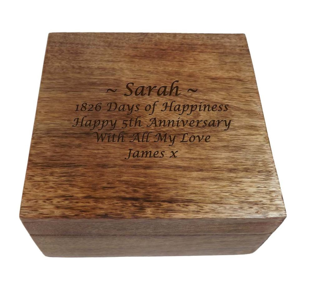 Personalised Wooden Square Keepsake Box-Large. A great gift for Anniversari