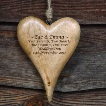 Personalised Large Hanging Heart in Natural Solid Wood  - A Unique Wedding Gift