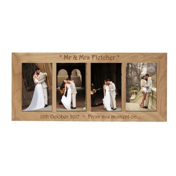 4 Picture Oak Photo Frame Personalised with your choice of text as a Wedding gift.