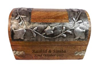 Silver Leaf Wood Box Medium