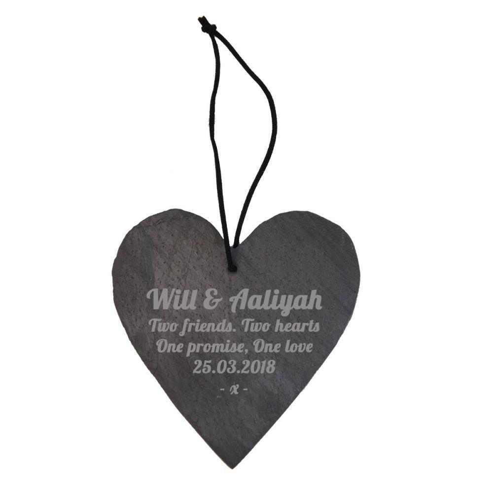 Personalised Slate Hanging Heart Decoration Perfect Wedding Keepsake.