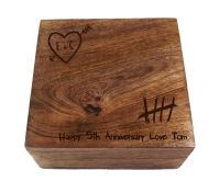 5th Anniversary Knotty Square Wooden Keepsake Box Personalised