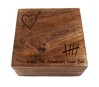 5th Anniversary Knotty Square Wooden Keepsake Box - Small
