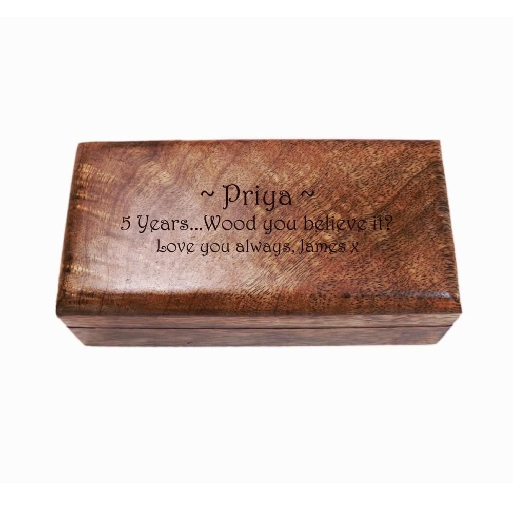 Small Wooden Oblong Keepsake Box, Great 5th Wedding Anniversary Present per
