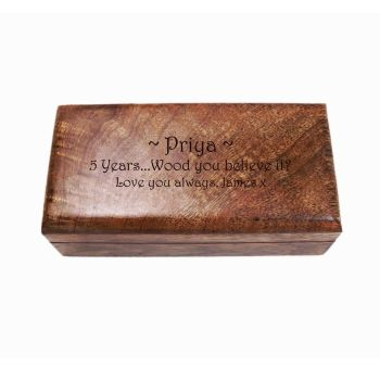 Wooden Oblong Keepsake Box, Great 5th Wedding Anniversary Present personalised with your unique message.
