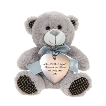 Grey Teddy Bear With Silver Heart Tag, personalised with your message of sympathy