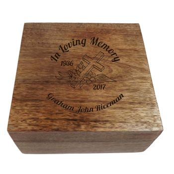 """ In Loving Memory"" Wooden Square Memorial Box"
