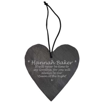 Personalised Memorial Slate Hanging Heart