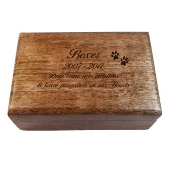 Memorial Wooden Oblong Keepsake Box with Paw Prints, perfect for storing those Happy Memories.